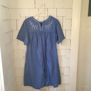Blue embroidered shift dress